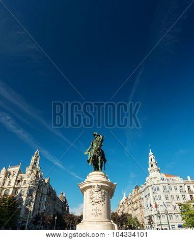 Porto, Portugal: King Dom Pedro IV Statue in the Aliados Avenue