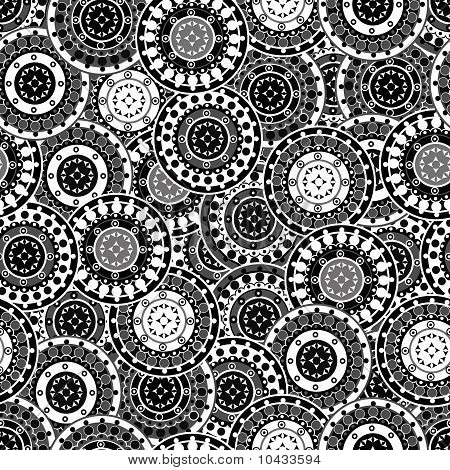 Pattern Seamless With Oriental Motifs In Black And White