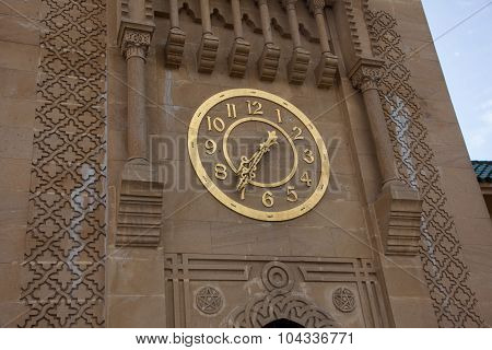 Tangier, Morocco - April 4, 2015: Gold Clock On Sidi Bou Abib Mosque In Tangier, Morroco