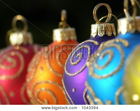 Christmas Baubles In A Row