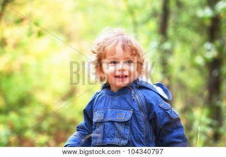 Portrait Of Toddler Boy Outdoor