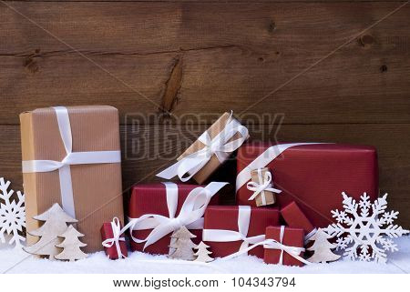 Red Christmas Gifts And Decoration With White Ribbon, Snowflake