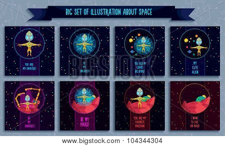 Space Vector Illustration In Style Flat About Alien In The Univerce