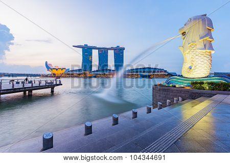 Singapore Skyline Cityscape At Twilight