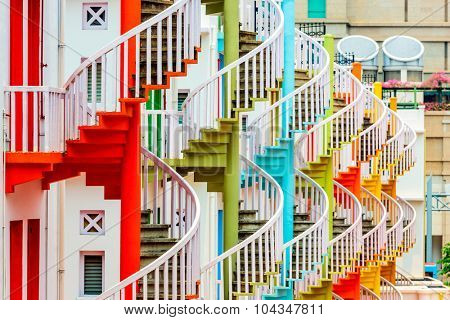 Singapore at Bugis Village spiral staircases.