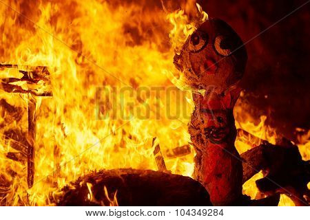 Fallas fire burning in Valencia fest at March 19 th Spain tradition