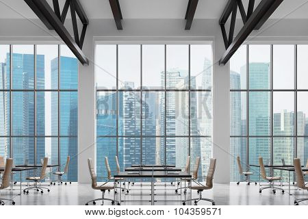 Modern Workplaces In A Modern Bright Clean Interior Of A Loft Style Office. Huge Windows With Singap