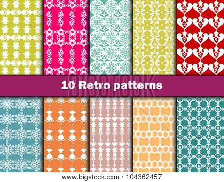 10 Retro different vector seamless patterns (tiling). Endless texture can be used for wallpaper, pat