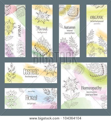 Vector Set of Design Banners and Cards in trendy Linear Style for Package.  Floral and Herbal Ornament. Color Backgrounds with Abstract Decorative Grasses and Leaves.