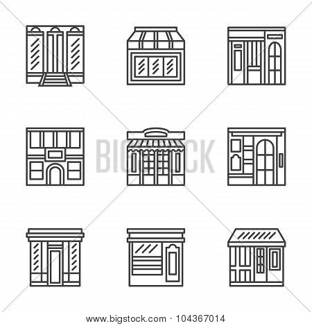 Store and cafe fronts flat line vector icons