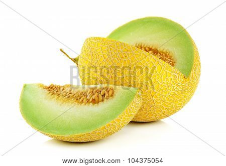 Cantaloupe Melon Isolated On The White Background