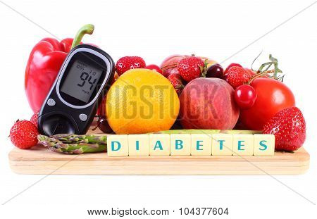 Glucose Meter With Fruits And Vegetables, Healthy Nutrition, Diabetes