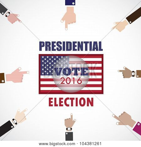 Voting concept.Businessman hand and voting paper with america presidential election 2016.Vector illustration poster