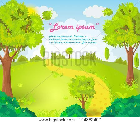 Glade in the middle of the park with the footpath vector illustration