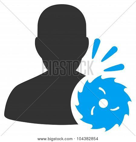 Body Execution raster icon. Style is bicolor flat symbol, blue and gray colors, rounded angles, white background. poster