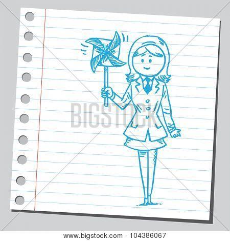 Businesswoman with pinwheel