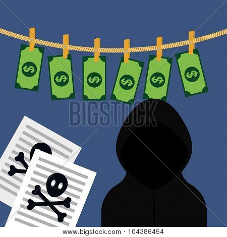 Money fraud and hacking design, vector illustration. poster