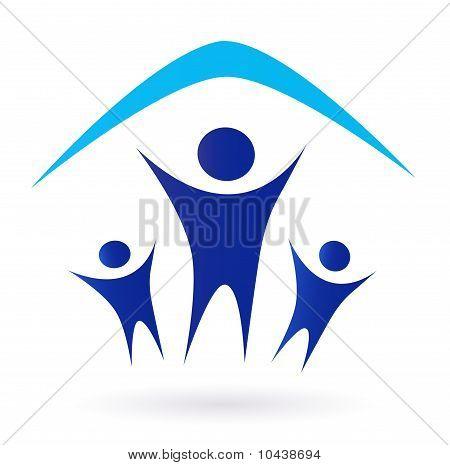 Familia y casa icono de techo aislado en blanco - azul