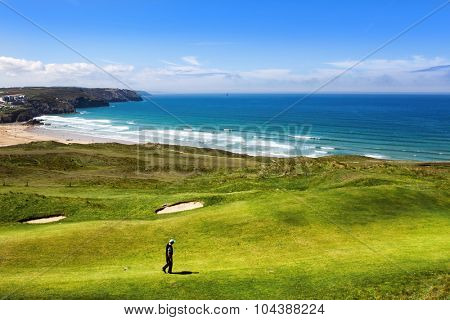Golf course on an ocean coast