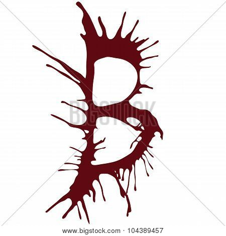 Dripping blood ink fonts the letter B