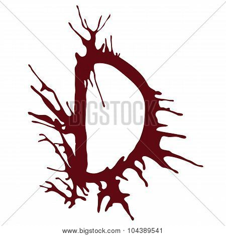 Dripping blood ink fonts the letter D.