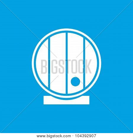 Wooden cask icon, white