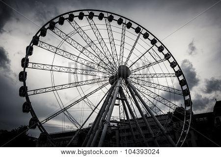 Budapest Eye (Sziget's Eye - ferris wheel) in dramtic black and white poster