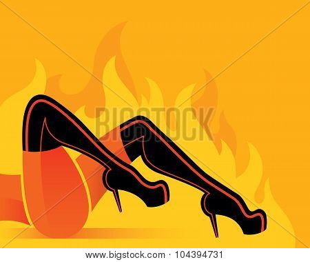 Woman with black boots in fire