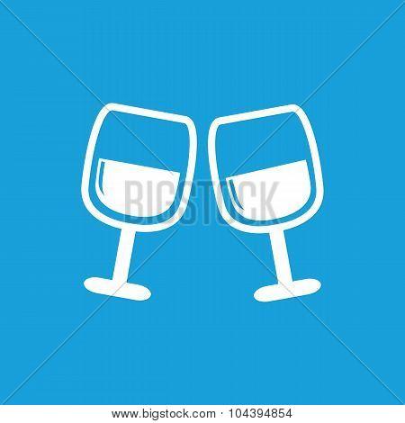 2 wine glasses icon, white