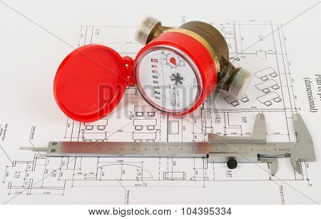 Water meter with trammel