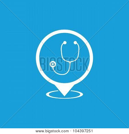 Doctor map marker icon, white