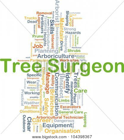 Background concept wordcloud illustration of tree surgeon