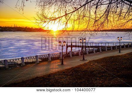 Scenic riverwalk along the Volga River in the city of Kostroma, Russia
