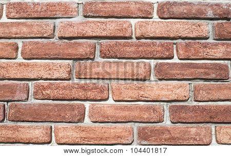 Decorative Relief Cladding Slabs Imitating Bricks  On Wall Closeup