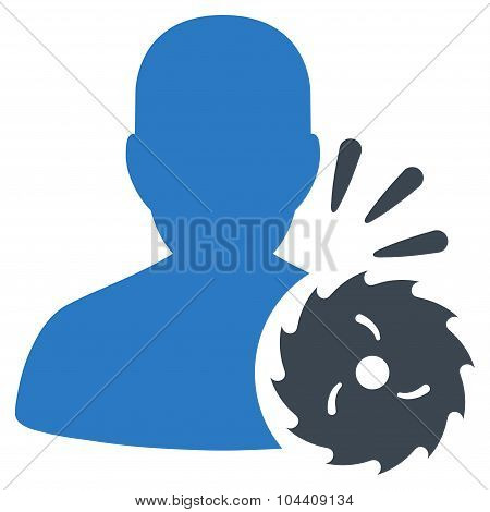 Body Execution vector icon. Style is bicolor flat symbol, smooth blue colors, rounded angles, white background. poster