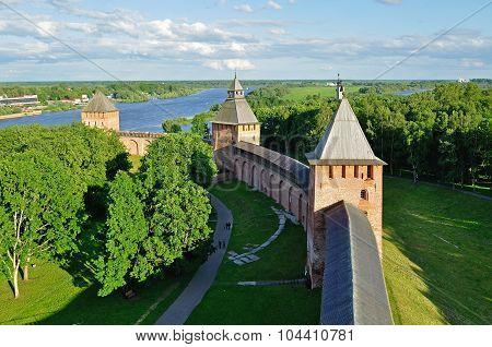 Panorama of Novgorod Kremlin at summer sunset from bird's eye view in Veliky Novgorod, Russia poster