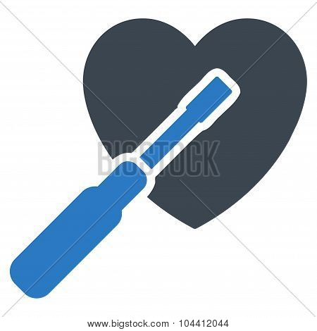 Heart Tuning vector icon. Style is bicolor flat symbol, smooth blue colors, rounded angles, white background. poster