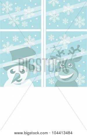 christmas scene - snowman and reindeer peeking through the window