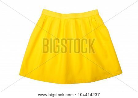 Yellow pleated skirt isolated on white background