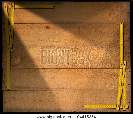 Wooden Background With Ruler Frame