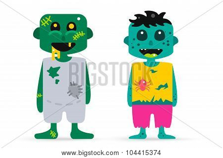 Monster zombie cartoon characters isolated vector silhouette