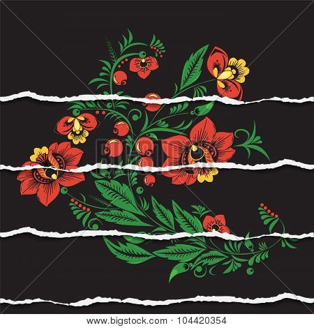 Russian Or Slavs Pattern. Ripped Paper. Background. Illustration
