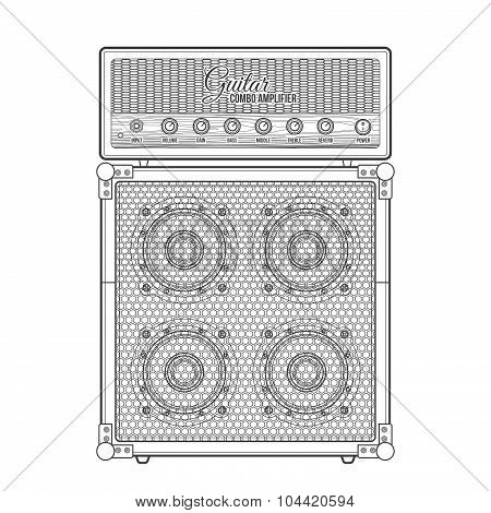 Vector Contour Graphic Electric Guitar Combo Amplifier Cabinet Illustration Icon.
