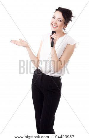 Young Female Emcee With Microphone On White Background
