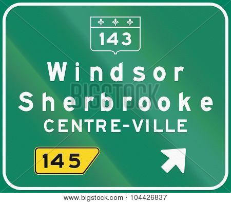Guide and information road sign in Quebec Canada - Highway exit sign. Centre-ville means city center. poster