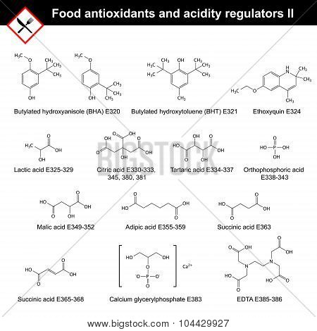 Chemical structures of main food antioxidants and acidity regulators, part II, 2d vector, eps 8 poster