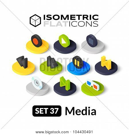 Isometric flat icons set 37