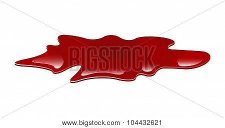 Set Of Blood Puddle, Drop, Blots, Stain, Red Plash Od Blood. Vector Illustration Isolated On White B