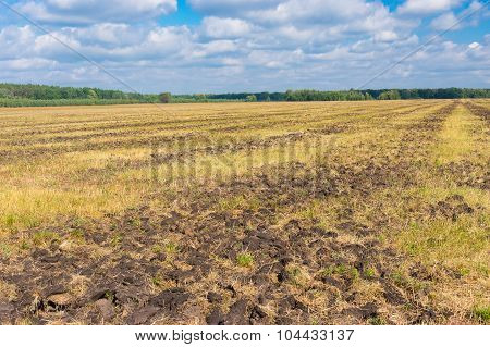 Agricultural land with primary tillage prepared to new season