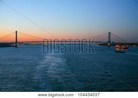 Verrazano Narrows Bridge In New York At Sunset